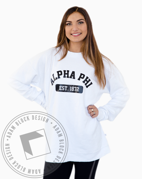 Alpha Phi 1872 Oversized Sweatshirt-gallery-Adam Block Design