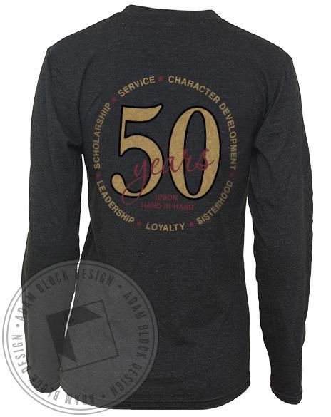Alpha Phi 50th Anniversary Long Sleeve V-Neck-Adam Block Design