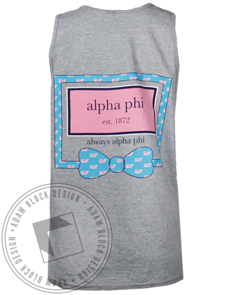 Alpha Phi Always Bow Tank Top-Adam Block Design
