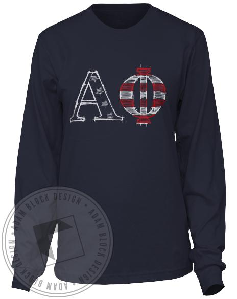 Alpha Phi American Flag Formal Long Sleeve Tee Shirt-Adam Block Design