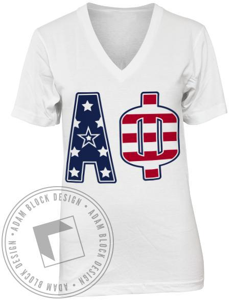 Alpha Phi American Flag Letters V-neck-Adam Block Design