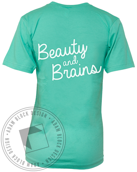 Alpha Phi Beauty And Brains V-neck-Adam Block Design