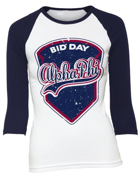 Alpha Phi Bid Day Baseball Shirt-Adam Block Design