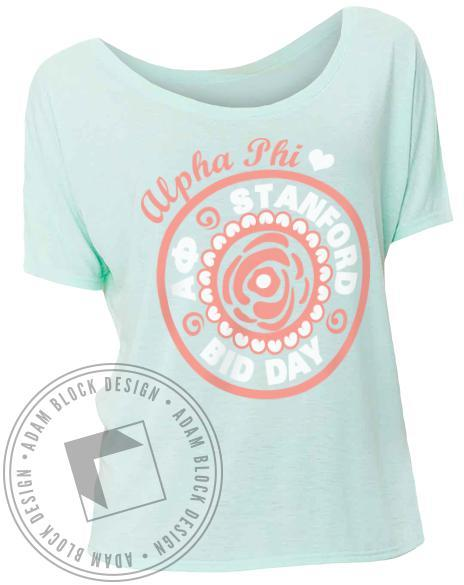 Alpha Phi Bid Day Circle Flower Shirt-Adam Block Design