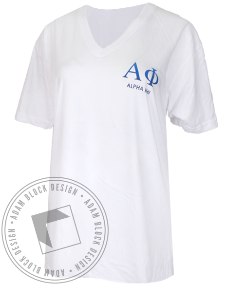 Alpha Phi By Your Side V-neck T-shirt-Adam Block Design