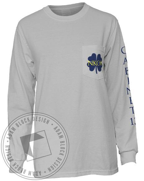 Alpha Phi Cabinet Long Sleeve Pocket Tee Shirt-Adam Block Design