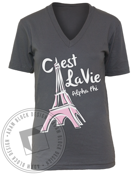 Alpha Phi C'est La Vie V-Neck-Adam Block Design