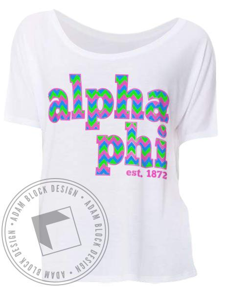 Alpha Phi Chevron Letter Flowy Tee Shirt-Adam Block Design
