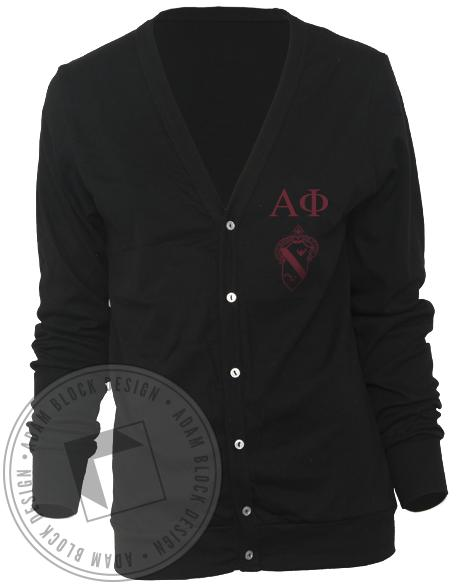Alpha Phi Crest Cardigan - Black-Adam Block Design