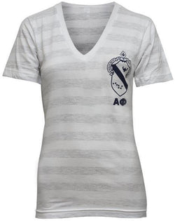Alpha Phi Crest V-Neck-Adam Block Design