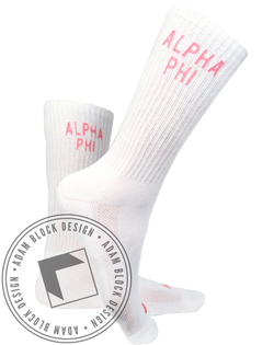 Alpha Phi Crew Socks-Adam Block Design