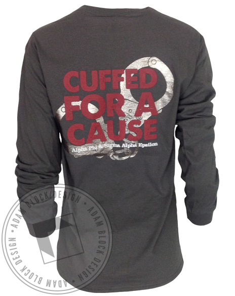 Alpha Phi Cuffed For A Cure Long Sleeve-gallery-Adam Block Design
