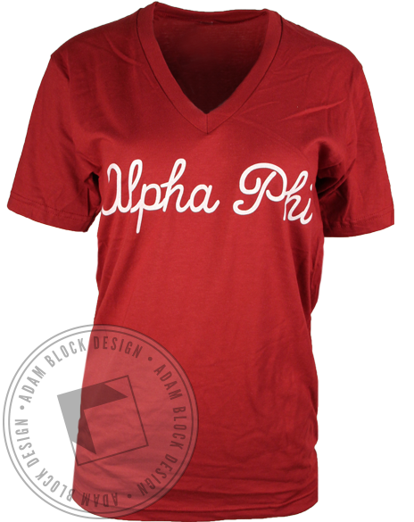 Alpha Phi Cursive Vneck Shirt-gallery-Adam Block Design