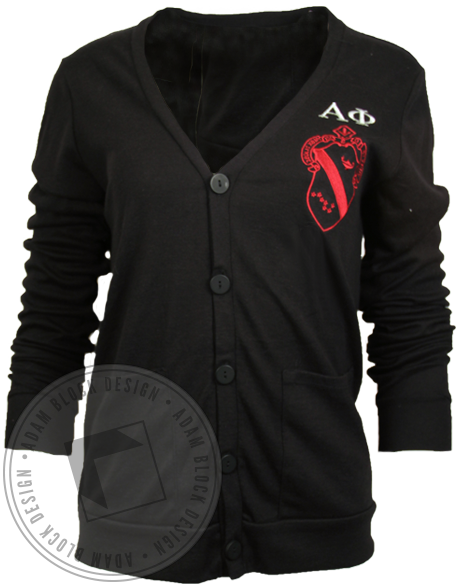 Alpha Phi Embroidered Crest Cardigan Sweater-Adam Block Design