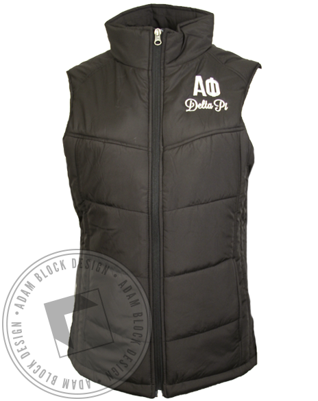Alpha Phi Embroidered Puffy Vest-Adam Block Design
