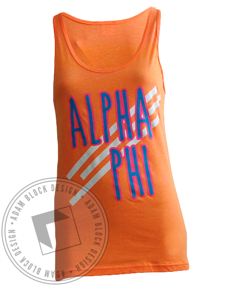 Alpha Phi Fall In Love Orange Tank-gallery-Adam Block Design