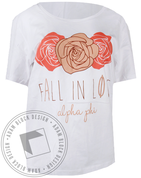 Alpha Phi Fall in Love Roses Tshirt-Adam Block Design