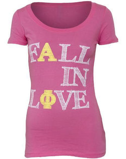 Alpha Phi Fall In Love Scoop Tee Shirt-Adam Block Design
