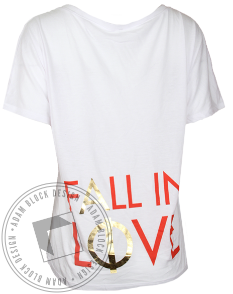 Alpha Phi Fall in Love Vneck Tshirt-Adam Block Design