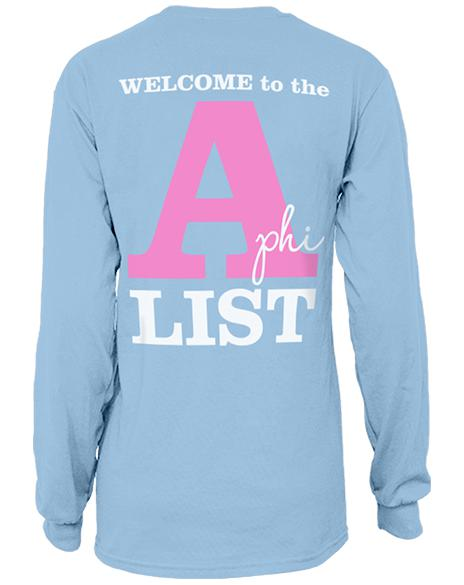 Alpha Phi Floral A-List Long Sleeve Tee Shirt-Adam Block Design