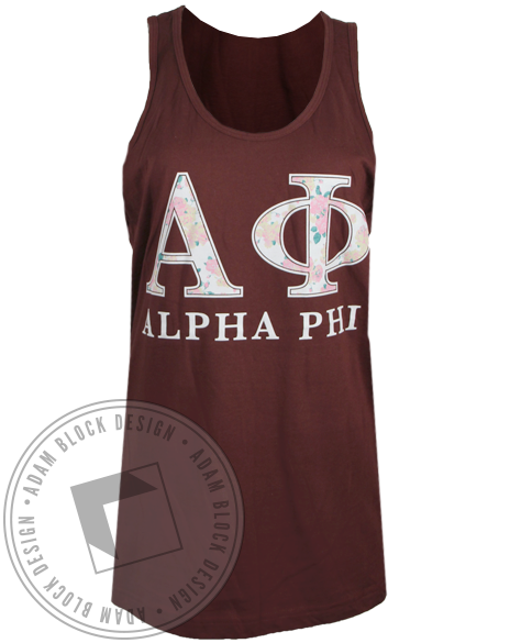 Alpha Phi Floral Letters Tank Top-Adam Block Design