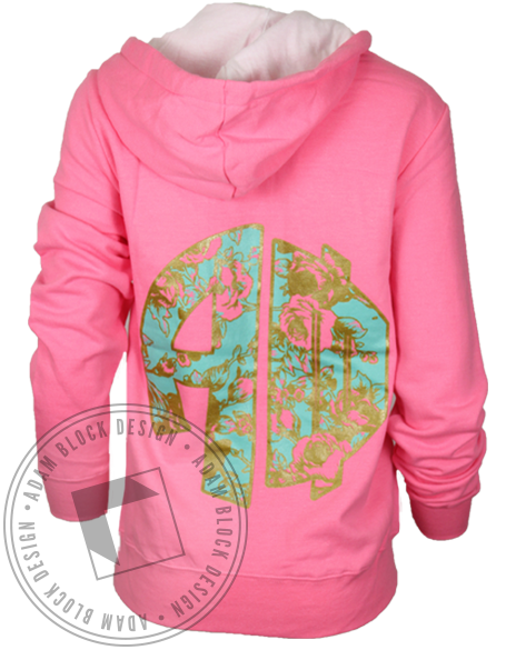 Alpha Phi Floral Monogram Hoodie Sweatshirt-gallery-Adam Block Design