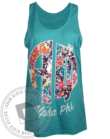 Alpha Phi Floral Monogram Tank Top-Adam Block Design