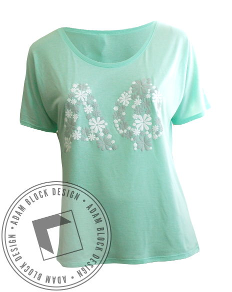 Alpha Phi Floral Tee Shirt-Adam Block Design