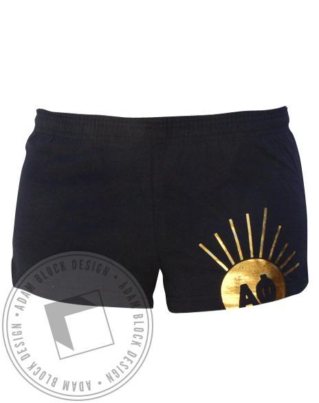 Alpha Phi Gold Foil Shorts-Adam Block Design