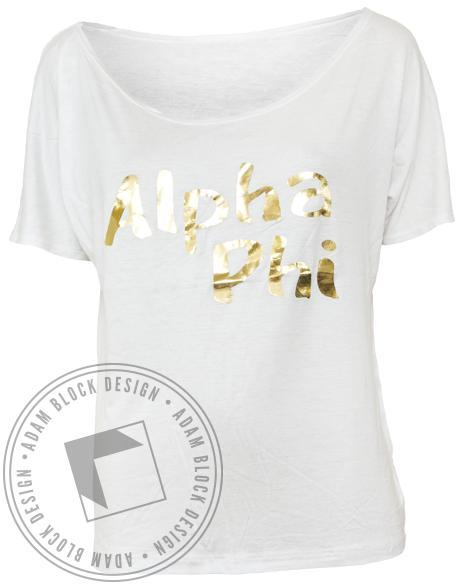 Alpha Phi Gold Slouchy Tee Shirt-Adam Block Design