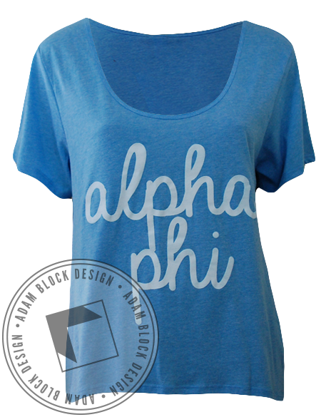 Alpha Phi Greek Tee Shirt-Adam Block Design