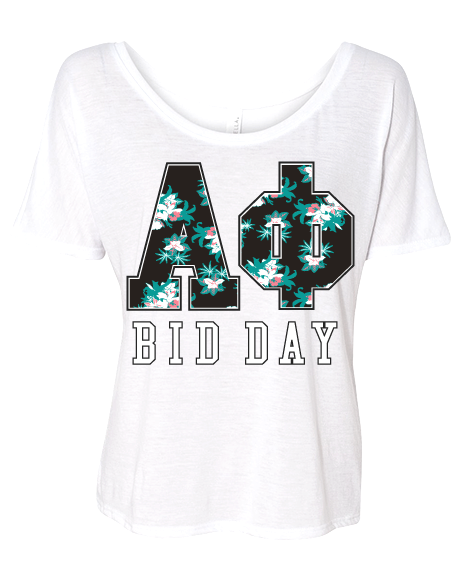 Alpha Phi Hawaiian Letter Bid Day Tee Shirt-Adam Block Design