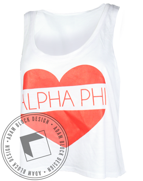 Alpha Phi Heart White Tank-gallery-Adam Block Design