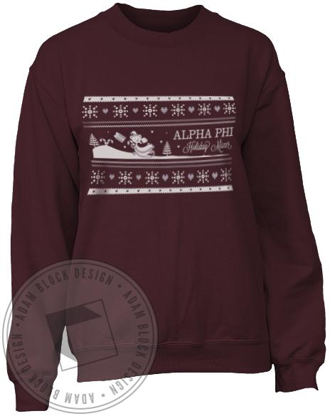 Alpha Phi Holiday Mixer Crew Neck Sweatshirt-Adam Block Design