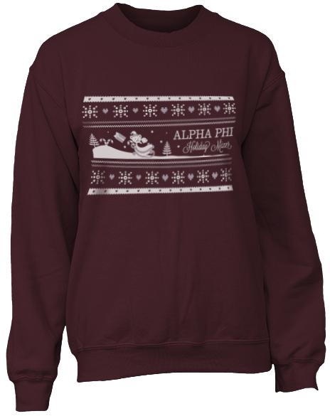 Alpha Phi Holiday Mixer Crew Neck Sweatshirt-gallery-Adam Block Design