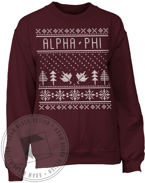 Alpha Phi Holiday Sweatshirt-Adam Block Design