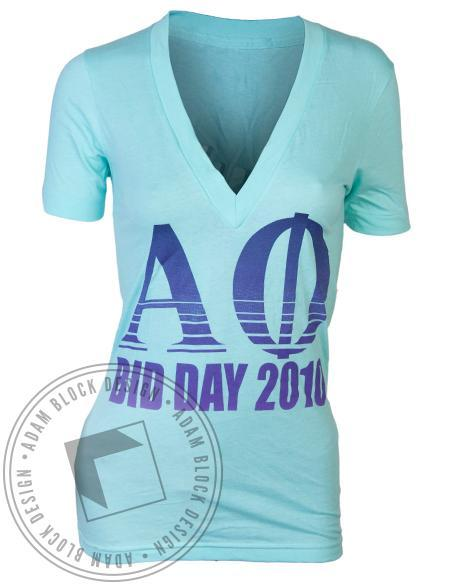 Alpha Phi Ivy Bid Day Envy V-Neck-Adam Block Design