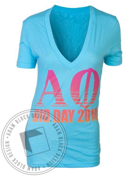 Alpha Phi Ivy Bid Day V-Neck-Adam Block Design
