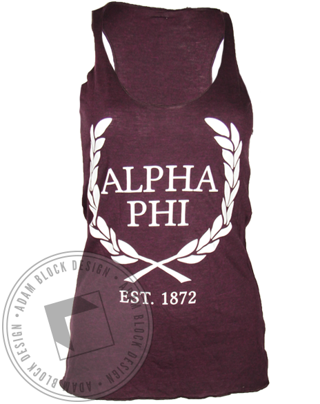 Alpha Phi Ivy Est. 1872 Tank Top-Adam Block Design