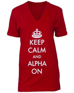 Alpha Phi Keep Calm V-Neck-Adam Block Design