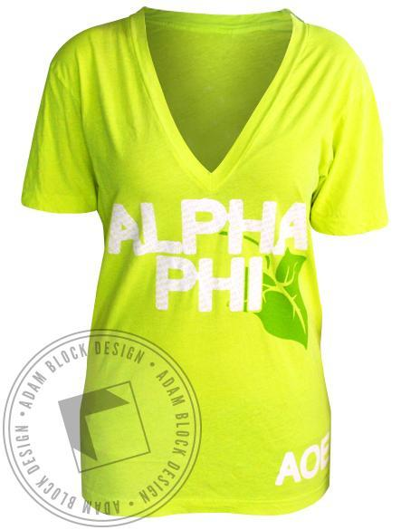 Alpha Phi Leaf V-Neck-Adam Block Design