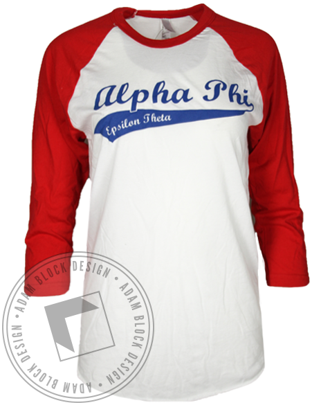 Alpha Phi League of Our Own Baseball Tshirt-Adam Block Design