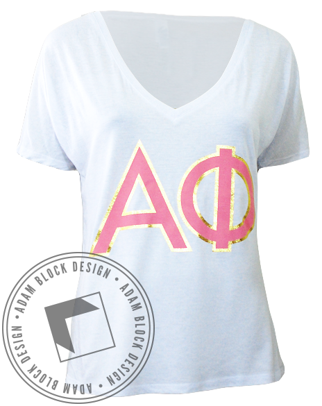 Alpha Phi Love V-Neck-Adam Block Design