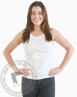 Alpha Phi Mac And Phi's White on White Tank-Adam Block Design