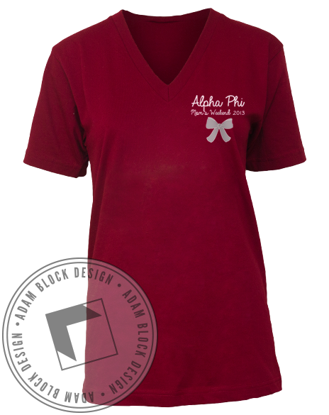 Alpha Phi Moms Weekend Vneck-Adam Block Design