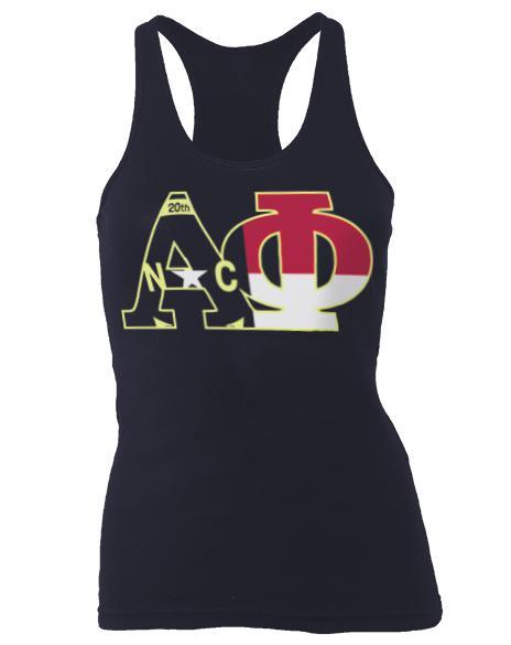 Alpha Phi North Carolina Flag Racerback Tank-gallery-Adam Block Design