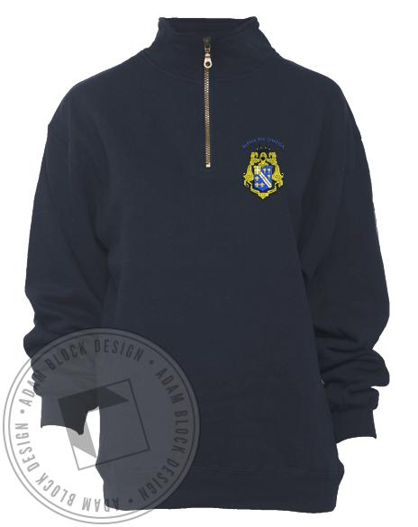 Alpha Phi Omega Crest Half-zip Jacket-Adam Block Design