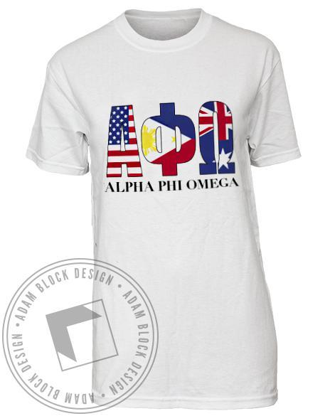 Alpha Phi Omega Flag Tee Shirt-Adam Block Design