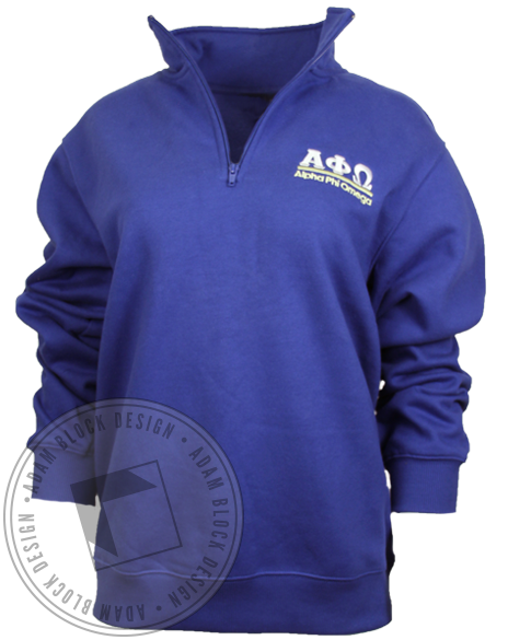 Alpha Phi Omega Half Zip Sweatshirt-Adam Block Design