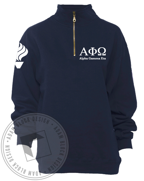 Alpha Phi Omega Half Zip Jacket-Adam Block Design